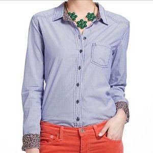 Anthro Meadow Rue Blue Stripe Button Down Shirt
